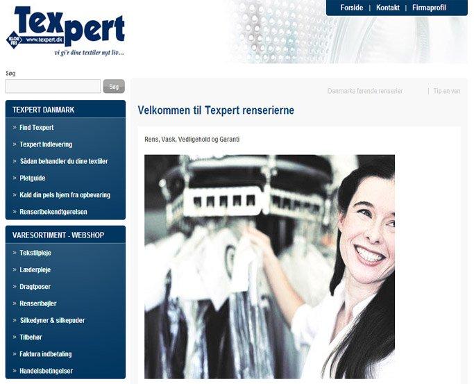texpert renseri kæde danmark hjemmeside og webshop